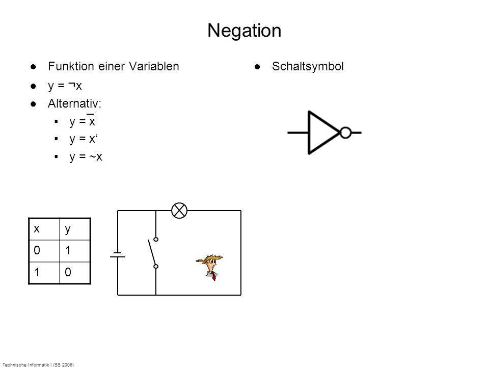 Technische Informatik I (SS 2006) Negation Funktion einer Variablen y = ¬ x Alternativ: y = x y = ~x Schaltsymbol xy 01 10