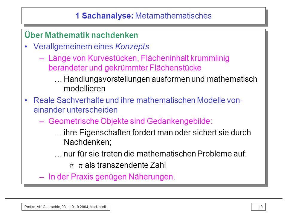 Profke, AK Geometrie, 08. - 10.10.2004, Marktbreit13 1 Sachanalyse: Metamathematisches Über Mathematik nachdenken Verallgemeinern eines Konzepts –Läng