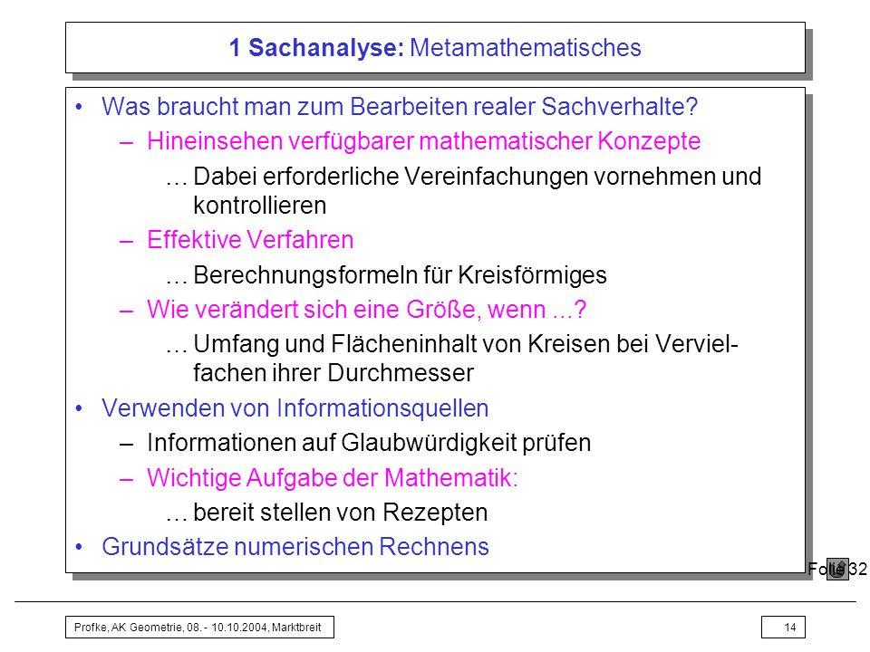 Profke, AK Geometrie, 08. - 10.10.2004, Marktbreit14 1 Sachanalyse: Metamathematisches Was braucht man zum Bearbeiten realer Sachverhalte? –Hineinsehe