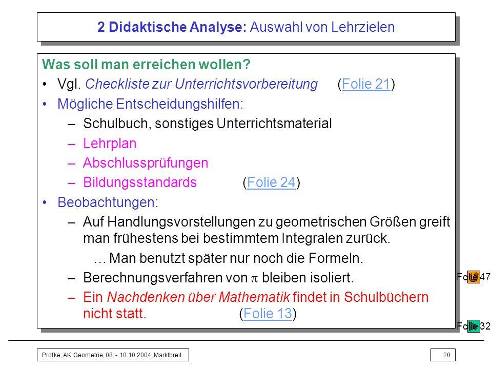 Profke, AK Geometrie, 08. - 10.10.2004, Marktbreit20 2 Didaktische Analyse: Auswahl von Lehrzielen Was soll man erreichen wollen? Vgl. Checkliste zur