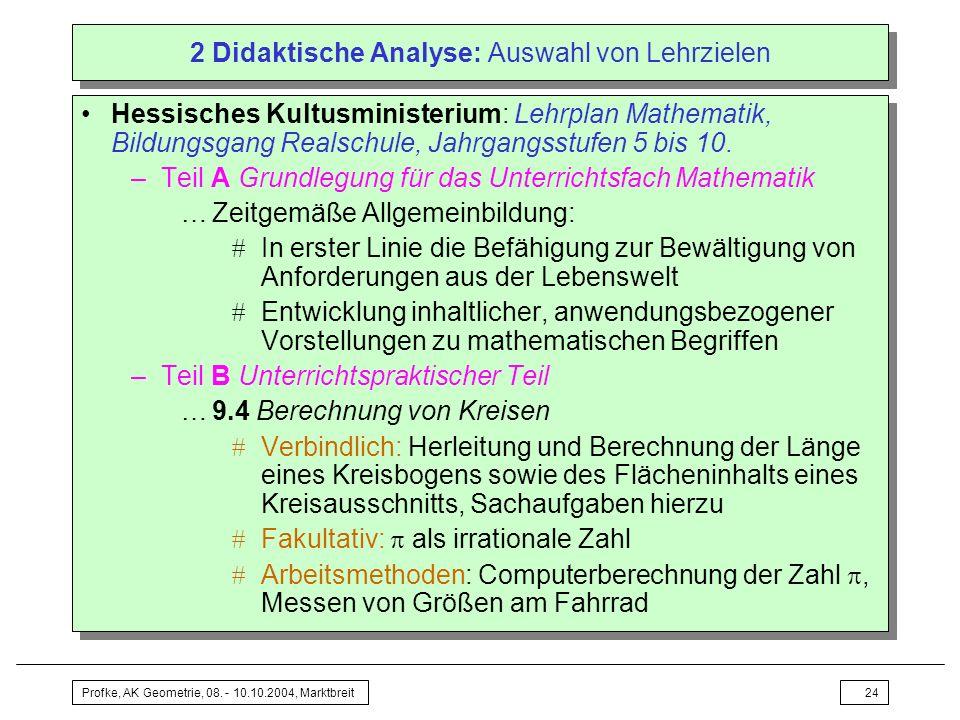 Profke, AK Geometrie, 08. - 10.10.2004, Marktbreit24 2 Didaktische Analyse: Auswahl von Lehrzielen Hessisches Kultusministerium: Lehrplan Mathematik,