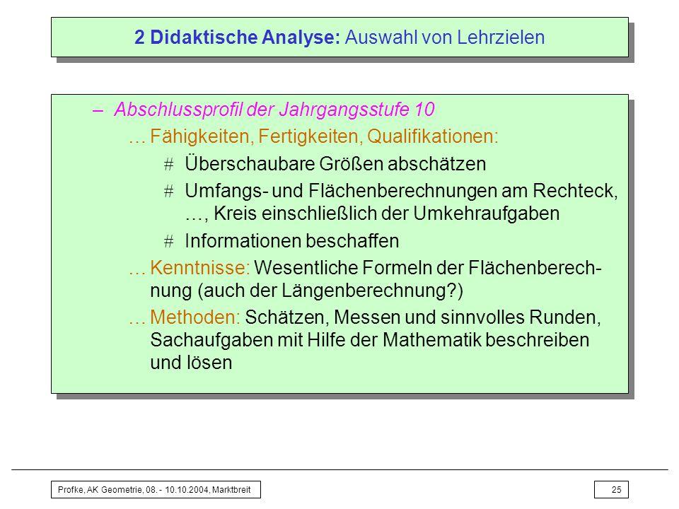 Profke, AK Geometrie, 08. - 10.10.2004, Marktbreit25 2 Didaktische Analyse: Auswahl von Lehrzielen –Abschlussprofil der Jahrgangsstufe 10 …Fähigkeiten