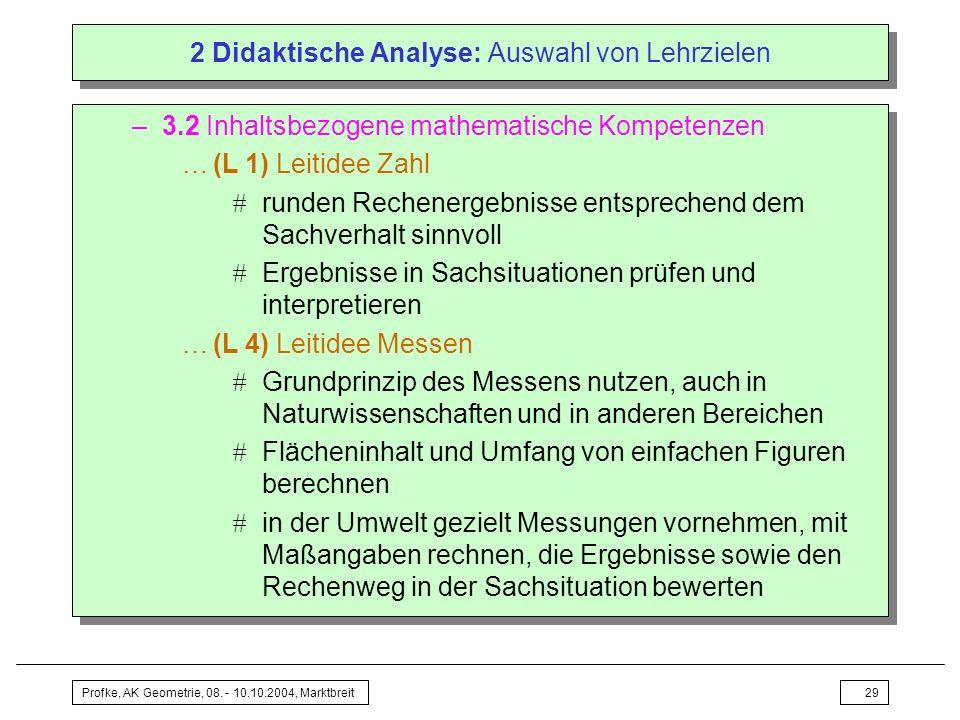 Profke, AK Geometrie, 08. - 10.10.2004, Marktbreit29 2 Didaktische Analyse: Auswahl von Lehrzielen –3.2 Inhaltsbezogene mathematische Kompetenzen …(L