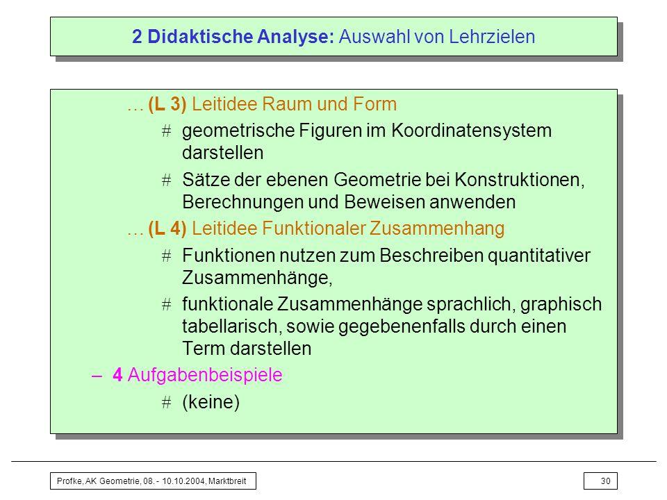 Profke, AK Geometrie, 08. - 10.10.2004, Marktbreit30 2 Didaktische Analyse: Auswahl von Lehrzielen …(L 3) Leitidee Raum und Form geometrische Figuren