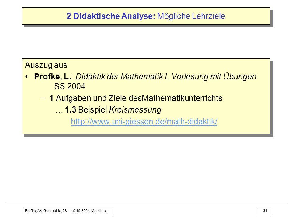 Profke, AK Geometrie, 08. - 10.10.2004, Marktbreit34 2 Didaktische Analyse: Mögliche Lehrziele Auszug aus Profke, L.: Didaktik der Mathematik I. Vorle