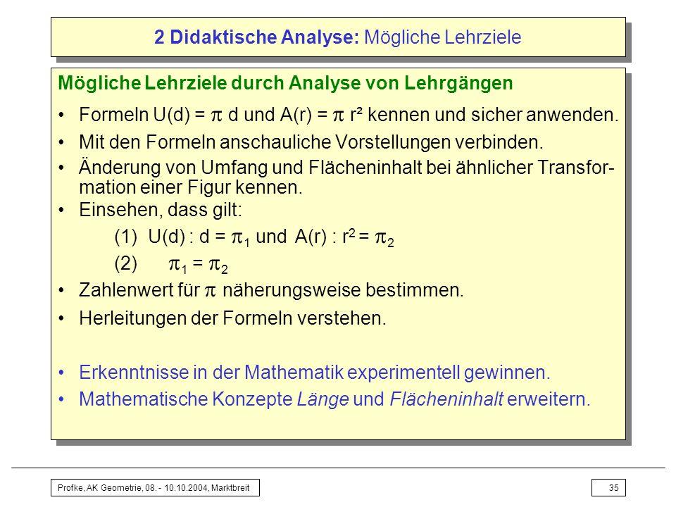 Profke, AK Geometrie, 08. - 10.10.2004, Marktbreit35 2 Didaktische Analyse: Mögliche Lehrziele Mögliche Lehrziele durch Analyse von Lehrgängen Formeln