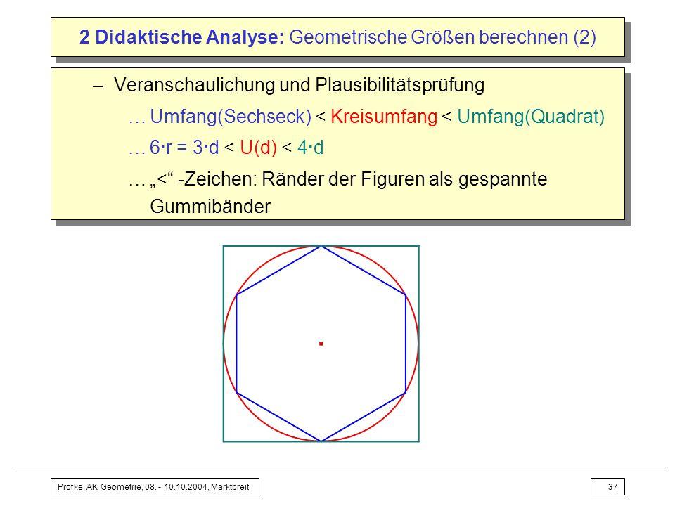 Profke, AK Geometrie, 08. - 10.10.2004, Marktbreit37 2 Didaktische Analyse: Geometrische Größen berechnen (2) –Veranschaulichung und Plausibilitätsprü