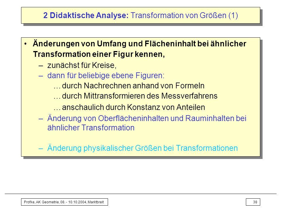 Profke, AK Geometrie, 08. - 10.10.2004, Marktbreit38 2 Didaktische Analyse: Transformation von Größen (1) Änderungen von Umfang und Flächeninhalt bei