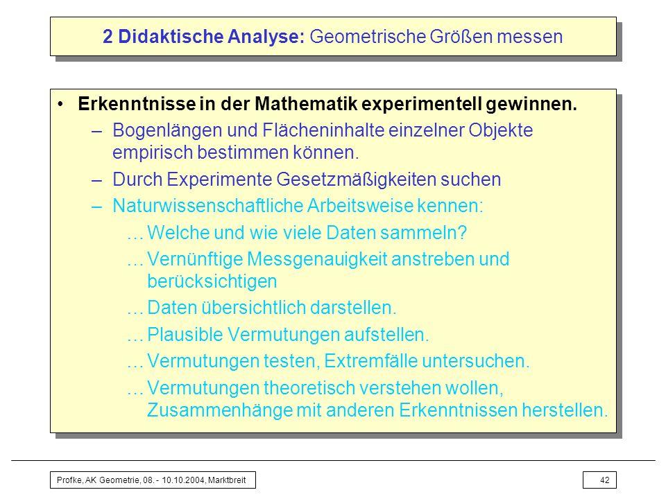 Profke, AK Geometrie, 08. - 10.10.2004, Marktbreit42 2 Didaktische Analyse: Geometrische Größen messen Erkenntnisse in der Mathematik experimentell ge