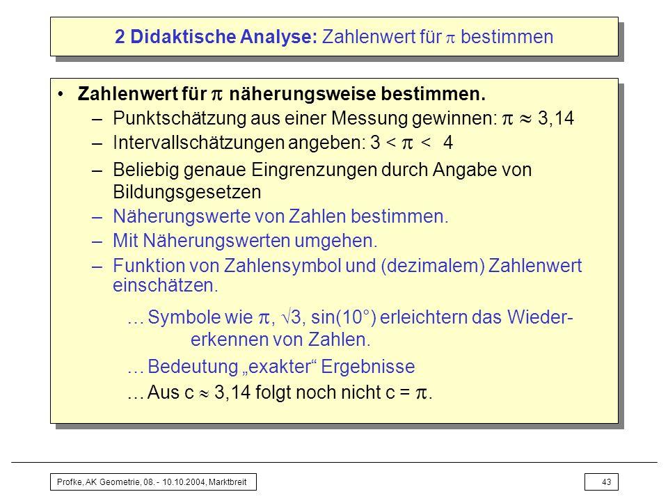 Profke, AK Geometrie, 08. - 10.10.2004, Marktbreit43 2 Didaktische Analyse: Zahlenwert für bestimmen Zahlenwert für näherungsweise bestimmen. –Punktsc