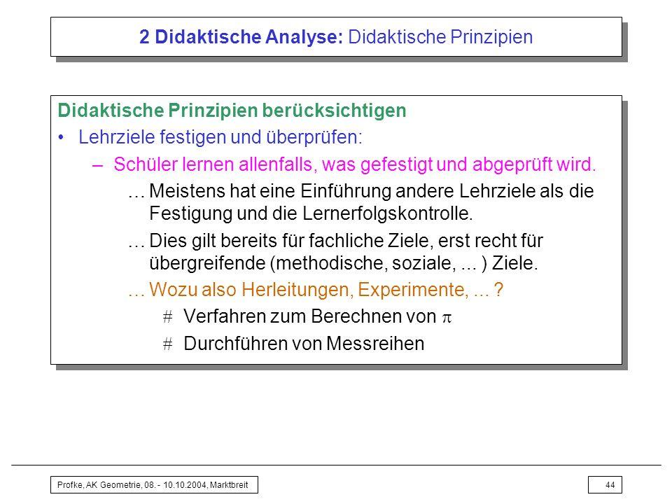 Profke, AK Geometrie, 08. - 10.10.2004, Marktbreit44 2 Didaktische Analyse: Didaktische Prinzipien Didaktische Prinzipien berücksichtigen Lehrziele fe