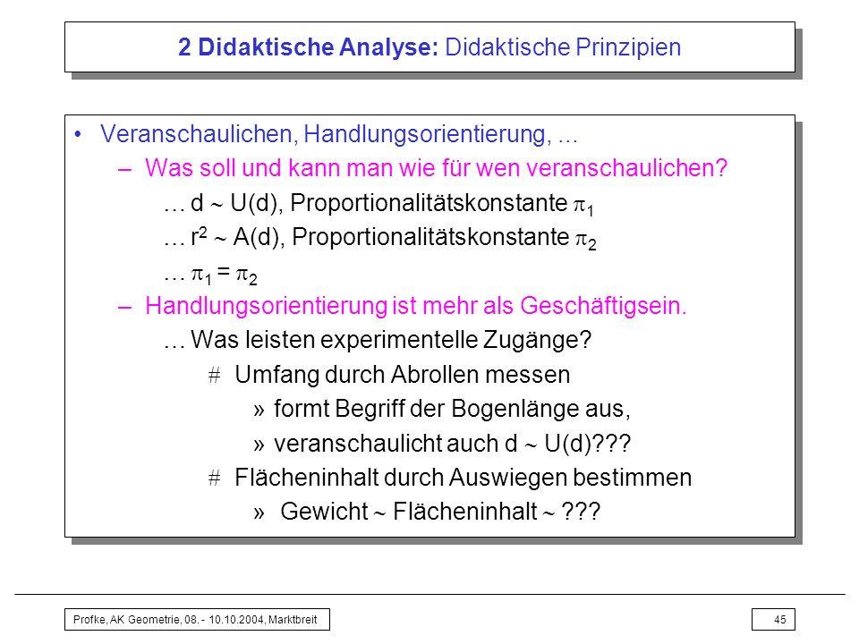 Profke, AK Geometrie, 08. - 10.10.2004, Marktbreit45 2 Didaktische Analyse: Didaktische Prinzipien Veranschaulichen, Handlungsorientierung,... –Was so