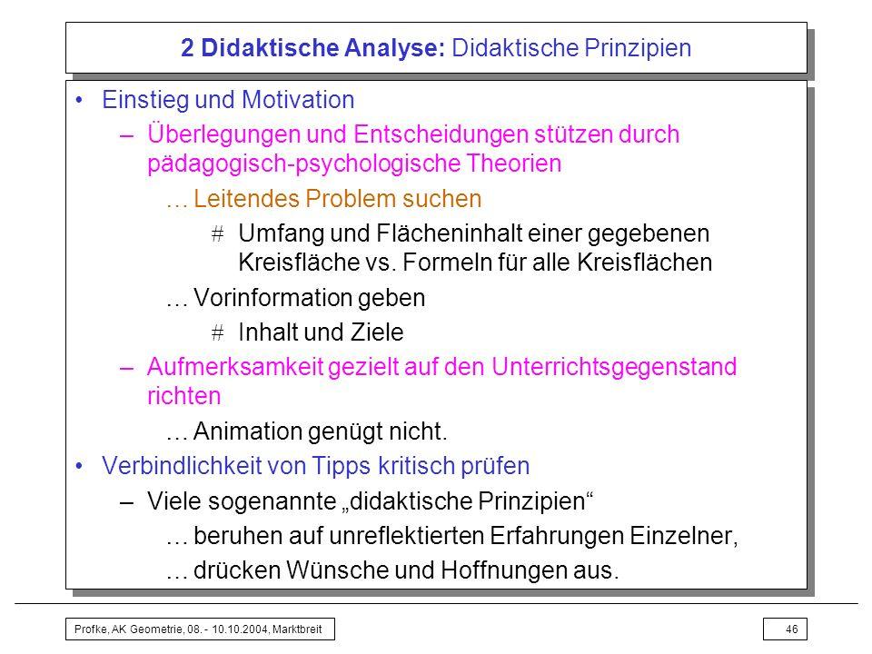 Profke, AK Geometrie, 08. - 10.10.2004, Marktbreit46 2 Didaktische Analyse: Didaktische Prinzipien Einstieg und Motivation –Überlegungen und Entscheid
