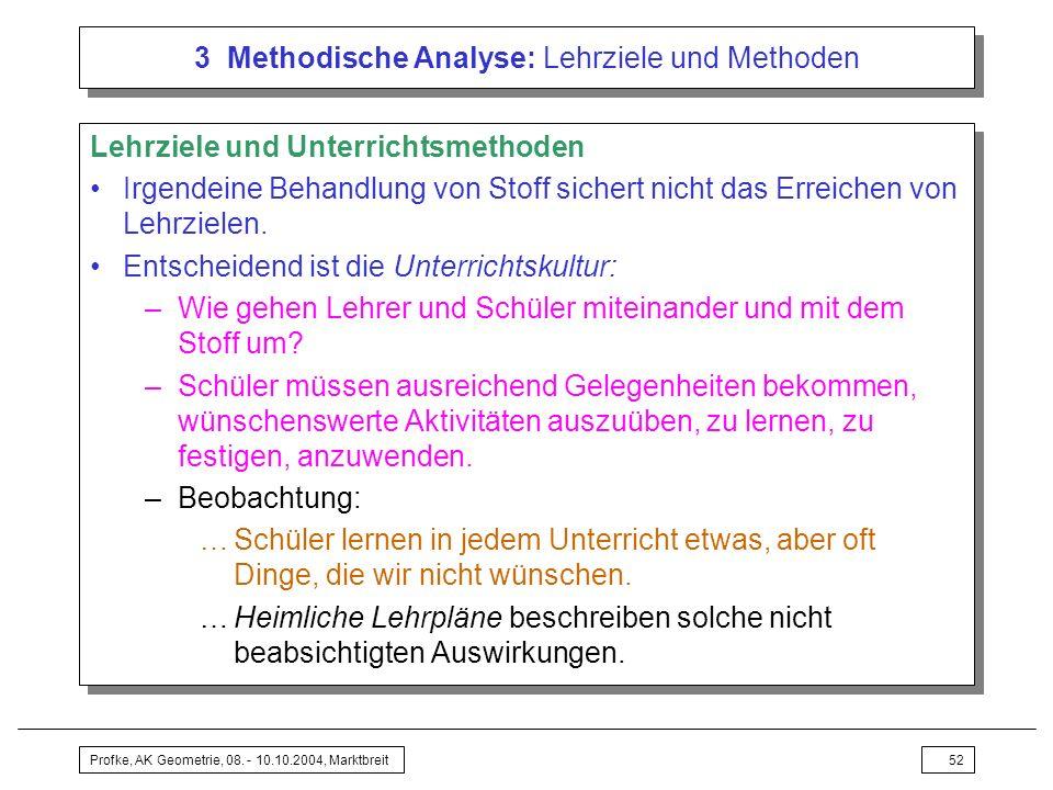 Profke, AK Geometrie, 08. - 10.10.2004, Marktbreit52 3 Methodische Analyse: Lehrziele und Methoden Lehrziele und Unterrichtsmethoden Irgendeine Behand