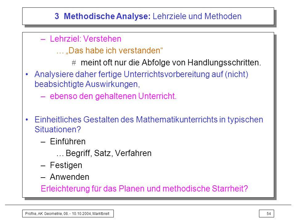 Profke, AK Geometrie, 08. - 10.10.2004, Marktbreit54 3 Methodische Analyse: Lehrziele und Methoden –Lehrziel: Verstehen …Das habe ich verstanden meint
