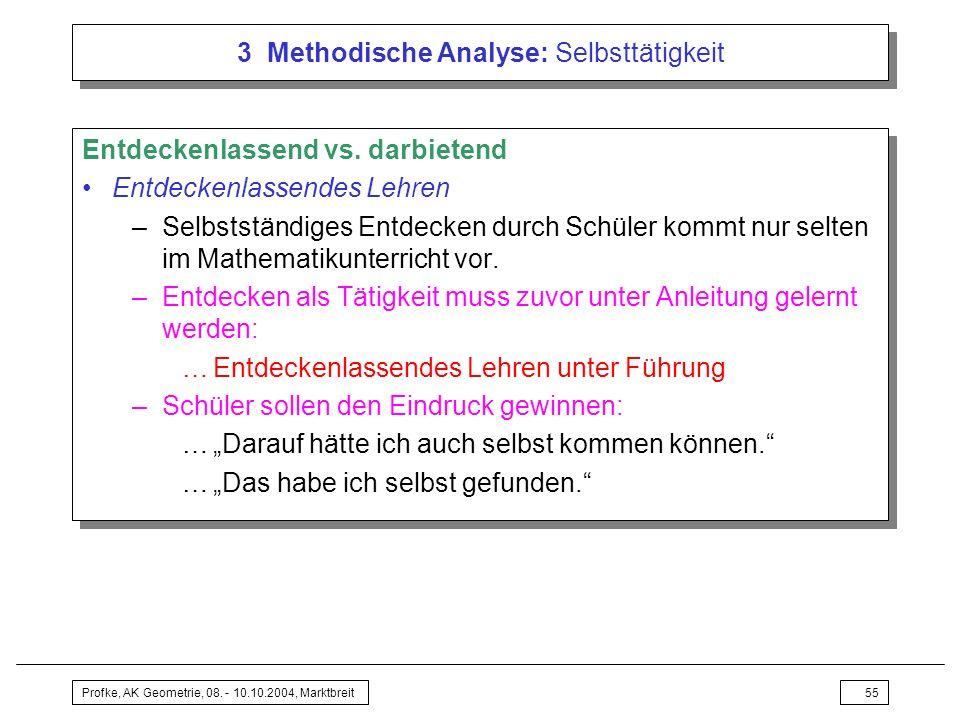 Profke, AK Geometrie, 08. - 10.10.2004, Marktbreit55 3 Methodische Analyse: Selbsttätigkeit Entdeckenlassend vs. darbietend Entdeckenlassendes Lehren