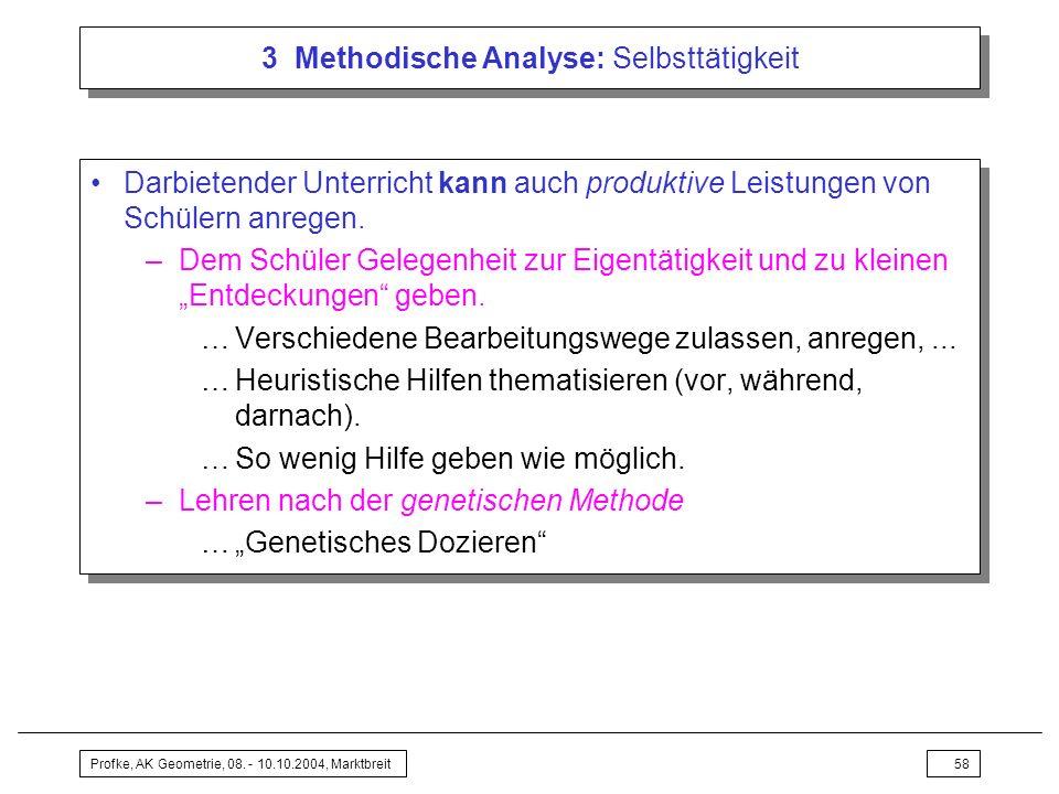 Profke, AK Geometrie, 08. - 10.10.2004, Marktbreit58 3 Methodische Analyse: Selbsttätigkeit Darbietender Unterricht kann auch produktive Leistungen vo