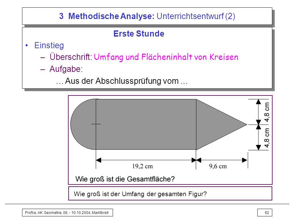 Profke, AK Geometrie, 08. - 10.10.2004, Marktbreit62 3 Methodische Analyse: Unterrichtsentwurf (2) Erste Stunde Einstieg –Überschrift: Umfang und Fläc