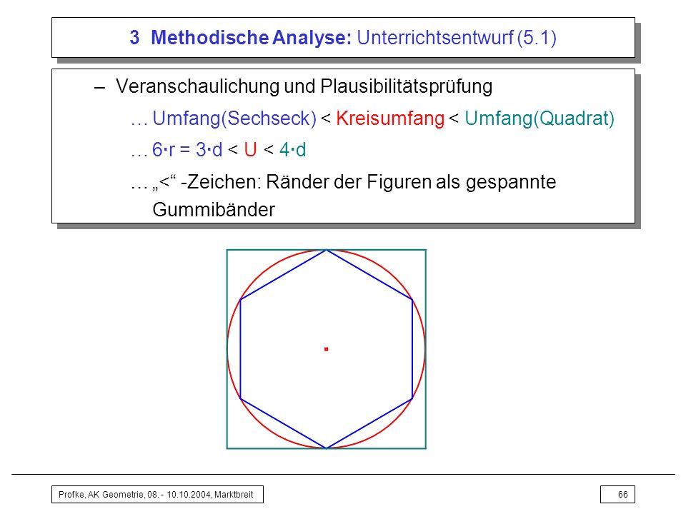 Profke, AK Geometrie, 08. - 10.10.2004, Marktbreit66 3 Methodische Analyse: Unterrichtsentwurf (5.1) –Veranschaulichung und Plausibilitätsprüfung …Umf