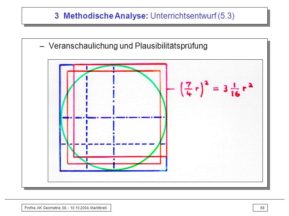 Profke, AK Geometrie, 08. - 10.10.2004, Marktbreit68 3 Methodische Analyse: Unterrichtsentwurf (5.3) –Veranschaulichung und Plausibilitätsprüfung