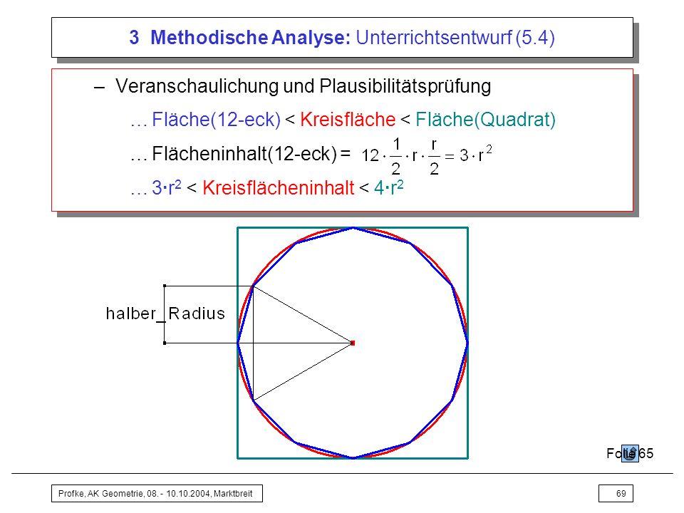 Profke, AK Geometrie, 08. - 10.10.2004, Marktbreit69 3 Methodische Analyse: Unterrichtsentwurf (5.4) –Veranschaulichung und Plausibilitätsprüfung …Flä