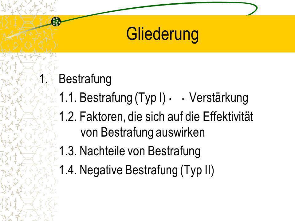 Gliederung 1.Bestrafung 1.1. Bestrafung (Typ I) Verstärkung 1.2. Faktoren, die sich auf die Effektivität von Bestrafung auswirken 1.3. Nachteile von B