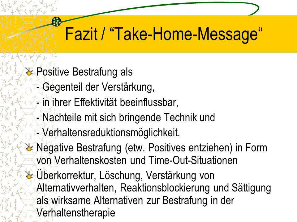 Fazit / Take-Home-Message Positive Bestrafung als - Gegenteil der Verstärkung, - in ihrer Effektivität beeinflussbar, - Nachteile mit sich bringende Technik und - Verhaltensreduktionsmöglichkeit.