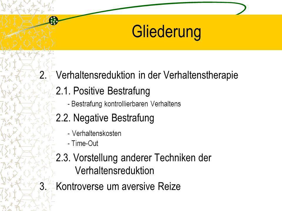 1.t 2.Verhaltensreduktion in der Verhaltenstherapie 2.1. Positive Bestrafung - Bestrafung kontrollierbaren Verhaltens 2.2. Negative Bestrafung - Verha