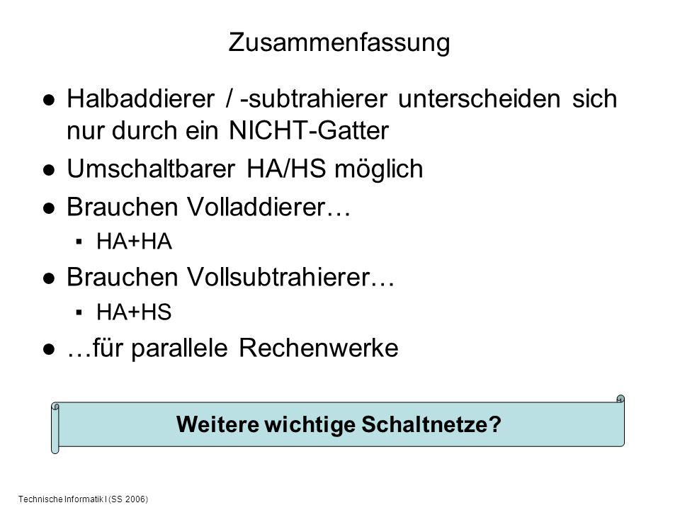 Technische Informatik I (SS 2006) Zusammenfassung Halbaddierer / -subtrahierer unterscheiden sich nur durch ein NICHT-Gatter Umschaltbarer HA/HS mögli