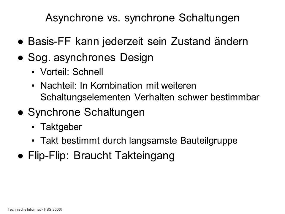 Technische Informatik I (SS 2006) Asynchrone vs. synchrone Schaltungen Basis-FF kann jederzeit sein Zustand ändern Sog. asynchrones Design Vorteil: Sc