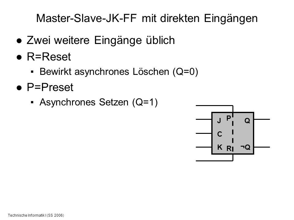 Technische Informatik I (SS 2006) Master-Slave-JK-FF mit direkten Eingängen Zwei weitere Eingänge üblich R=Reset Bewirkt asynchrones Löschen (Q=0) P=P
