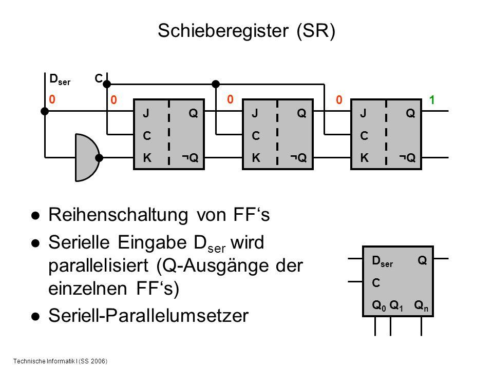 Technische Informatik I (SS 2006) Schieberegister (SR) Reihenschaltung von FFs Serielle Eingabe D ser wird parallelisiert (Q-Ausgänge der einzelnen FF