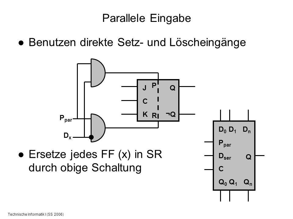 Technische Informatik I (SS 2006) Benutzen direkte Setz- und Löscheingänge Ersetze jedes FF (x) in SR durch obige Schaltung Parallele Eingabe JCKJCK Q