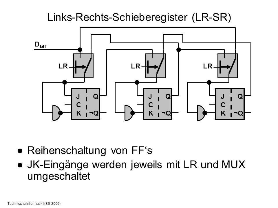 Technische Informatik I (SS 2006) Links-Rechts-Schieberegister (LR-SR) Reihenschaltung von FFs JK-Eingänge werden jeweils mit LR und MUX umgeschaltet