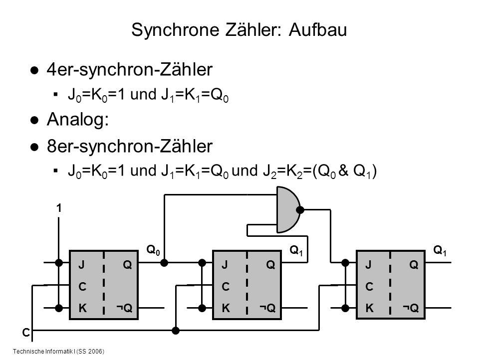 Technische Informatik I (SS 2006) Synchrone Zähler: Aufbau 4er-synchron-Zähler J 0 =K 0 =1 und J 1 =K 1 =Q 0 Analog: 8er-synchron-Zähler J 0 =K 0 =1 u