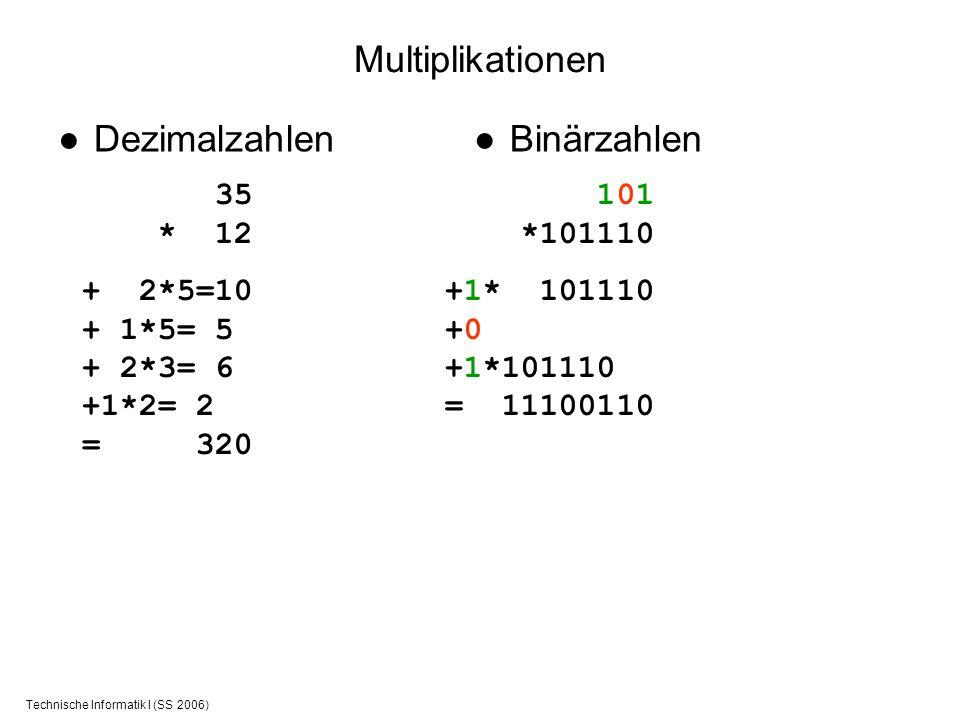 Technische Informatik I (SS 2006) Multiplikationen Dezimalzahlen 35 * 12 + 2*5=10 + 1*5= 5 + 2*3= 6 +1*2= 2 = 320 Binärzahlen 101 *101110 +1* 101110 +