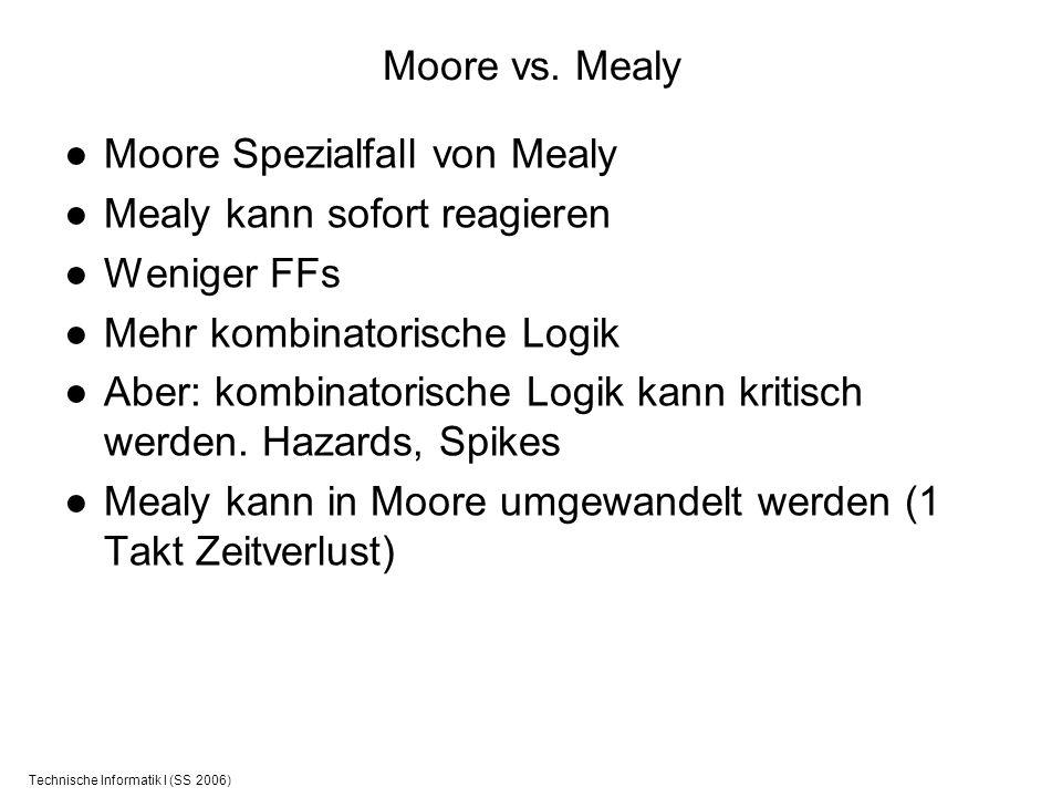Technische Informatik I (SS 2006) Moore vs. Mealy Moore Spezialfall von Mealy Mealy kann sofort reagieren Weniger FFs Mehr kombinatorische Logik Aber: