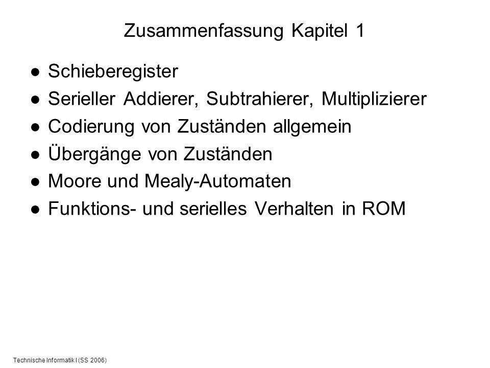 Technische Informatik I (SS 2006) Zusammenfassung Kapitel 1 Schieberegister Serieller Addierer, Subtrahierer, Multiplizierer Codierung von Zuständen a