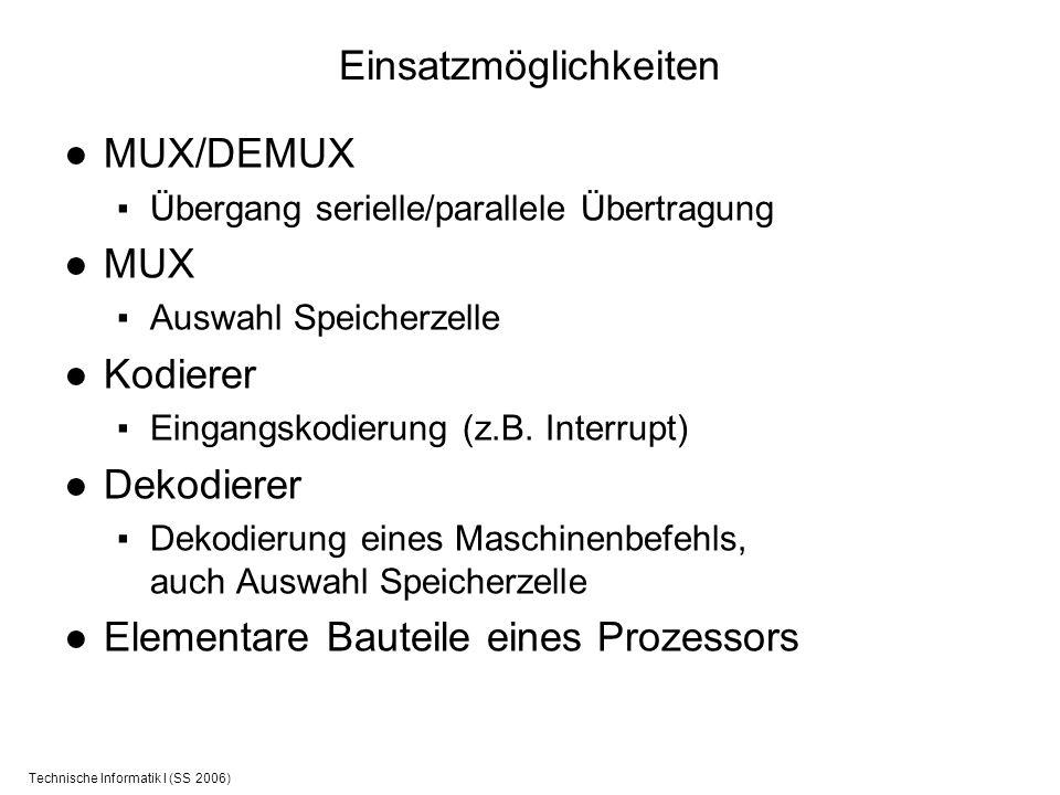 Technische Informatik I (SS 2006) Einsatzmöglichkeiten MUX/DEMUX Übergang serielle/parallele Übertragung MUX Auswahl Speicherzelle Kodierer Eingangsko