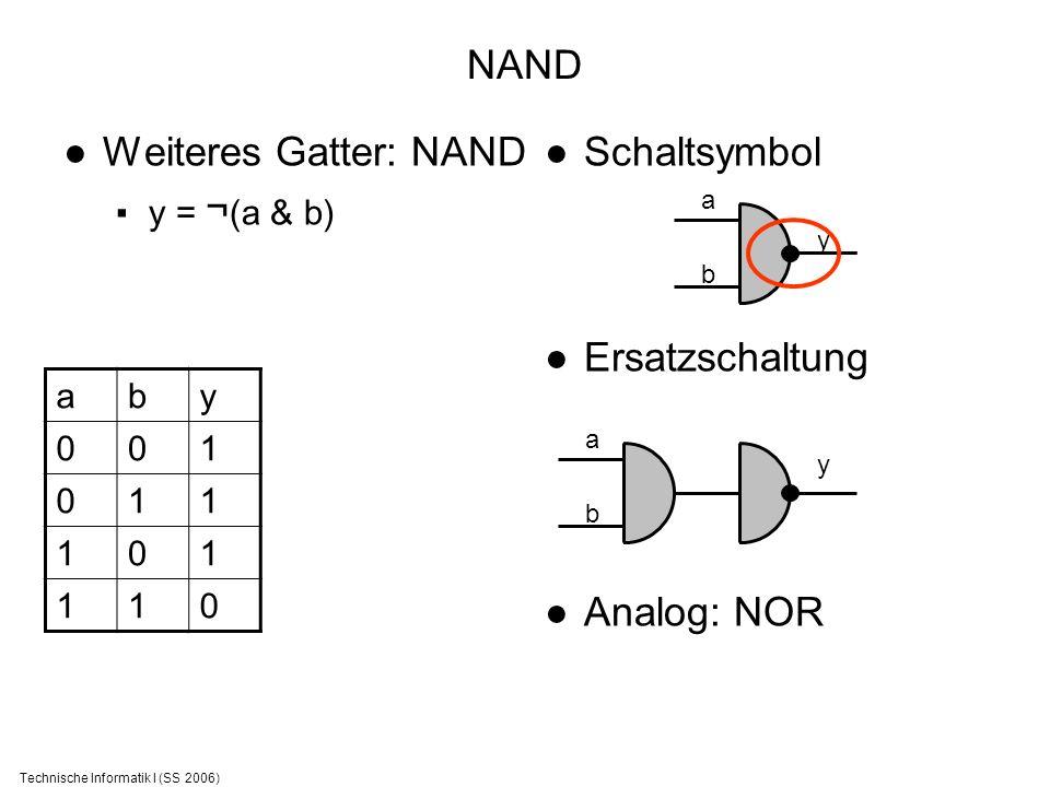 Technische Informatik I (SS 2006) NAND Weiteres Gatter: NAND y = ¬ (a & b) Schaltsymbol Ersatzschaltung Analog: NOR aby 001 011 101 110 a b y a b y