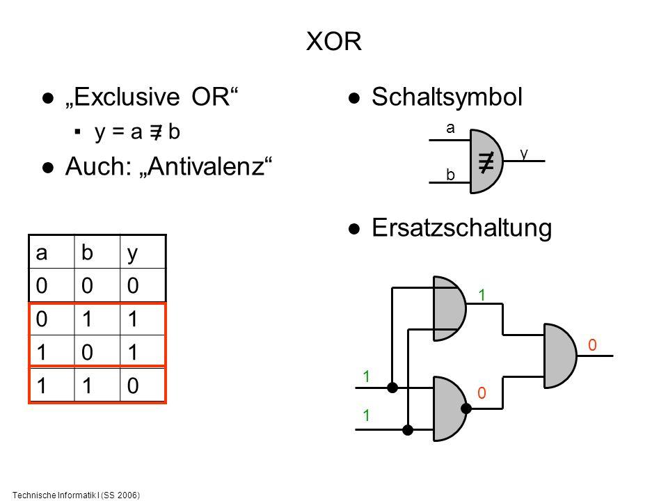 Technische Informatik I (SS 2006) XOR Exclusive OR y = a b Auch: Antivalenz Schaltsymbol Ersatzschaltung aby 000 011 101 110 a b y 0101 1 1 1 0 0