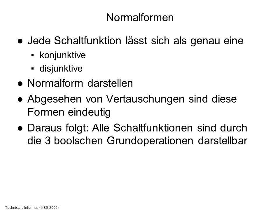 Technische Informatik I (SS 2006) Normalformen Jede Schaltfunktion lässt sich als genau eine konjunktive disjunktive Normalform darstellen Abgesehen v