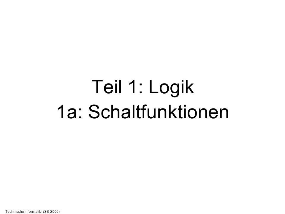 Technische Informatik I (SS 2006) Zahlensysteme Römische Zahlen Buchstaben: I=1, V=5, X=10 Nicht skalierbar… Arabische Zahlen: 1,2,3,4,5,6,7,8,9,0 10 Ziffern (10 Finger?) 1972 = 2*1 + 7*10 + 9*10*10 + 1*10*10*10 Skalierbar.