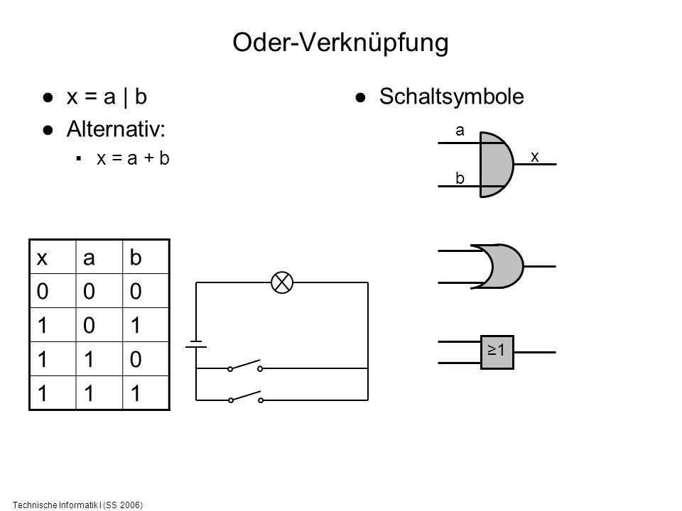 Technische Informatik I (SS 2006) Oder-Verknüpfung x = a | b Alternativ: x = a + b Schaltsymbole xab 000 101 110 111 1 a b x