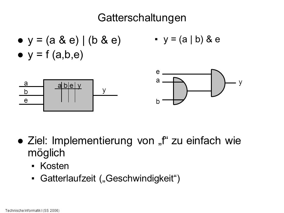 Technische Informatik I (SS 2006) Gatterschaltungen y = (a & e) | (b & e) y = f (a,b,e) Ziel: Implementierung von f zu einfach wie möglich Kosten Gatt