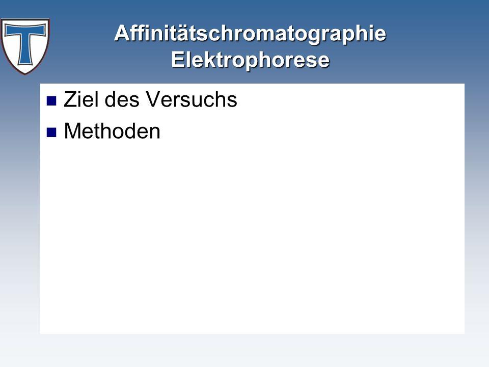 Affinitätschromatographie Elektrophorese Ziel des Versuchs Methoden