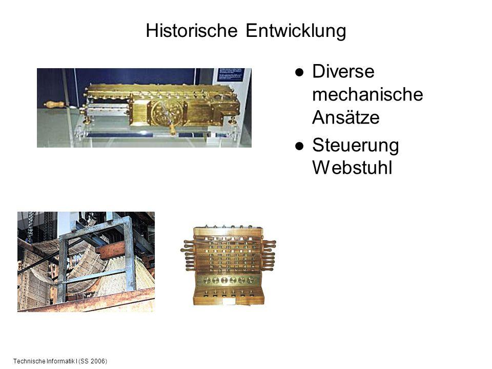 Technische Informatik I (SS 2006) Historische Entwicklung Diverse mechanische Ansätze Steuerung Webstuhl