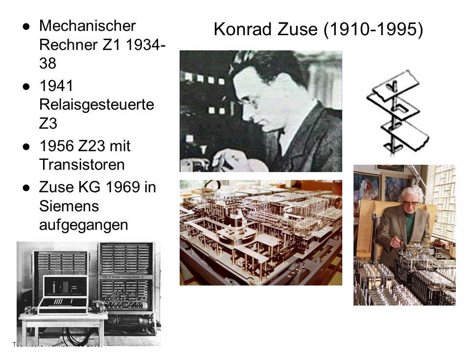 Technische Informatik I (SS 2006) Konrad Zuse (1910-1995) Mechanischer Rechner Z1 1934- 38 1941 Relaisgesteuerte Z3 1956 Z23 mit Transistoren Zuse KG