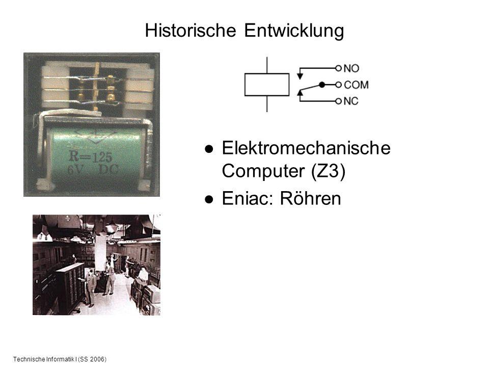 Technische Informatik I (SS 2006) Historische Entwicklung Elektromechanische Computer (Z3) Eniac: Röhren