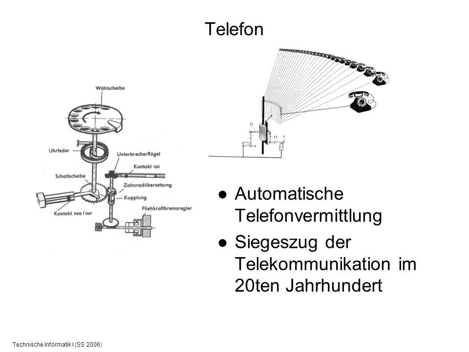 Technische Informatik I (SS 2006) Telefon Automatische Telefonvermittlung Siegeszug der Telekommunikation im 20ten Jahrhundert